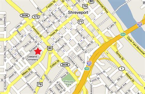 louisiana grid map location history oakland cemetery shreveport