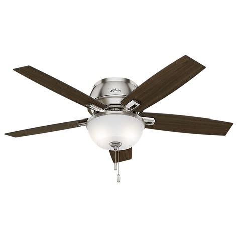 low profile ceiling fan with led light 52 inch hunter fan donegan low profile brushed nickel led