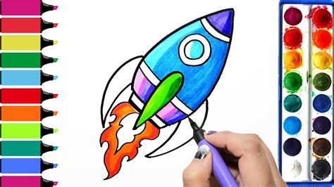 rocket colors draw color paint rocket coloring pages and learn colors