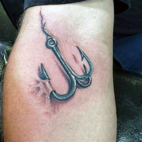 treble hook tattoo 75 fish hook designs for ink worth catching