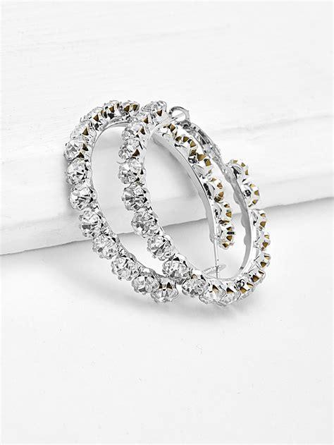 Rhinestone Hoop Earrings rhinestone delicate hoop earrings shein sheinside
