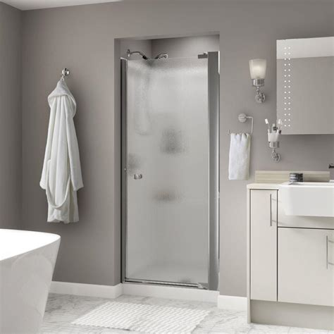 Delta Shower Door Delta Mandara 36 In X 66 In Semi Frameless Pivoting Shower Door In Chrome With Glass