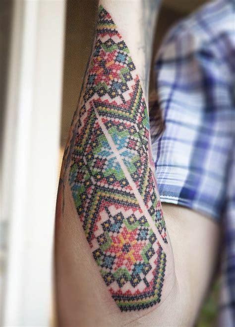 cross stitch tattoo beautiful colorful cross stitch forearm