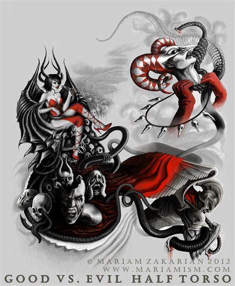 good vs evil tattoo sleeve evil japanese sleeve designs vs evil sleeve