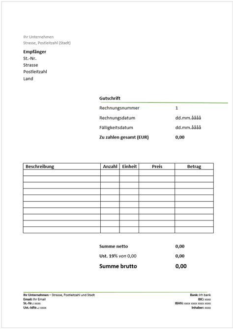 Rechnung Englisch Word Kostenlose Gutschrift Vorlage Herunterladen Deutsche Rechnungsvorlage