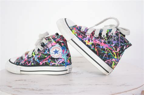 paint sneakers baby hightop or lowtop splatter painted converse or vans