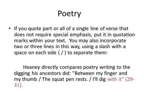 How Do You Mention A Poem In An Essay by Quoting Poetry Within A Paper Using Mla Documentation Ppt