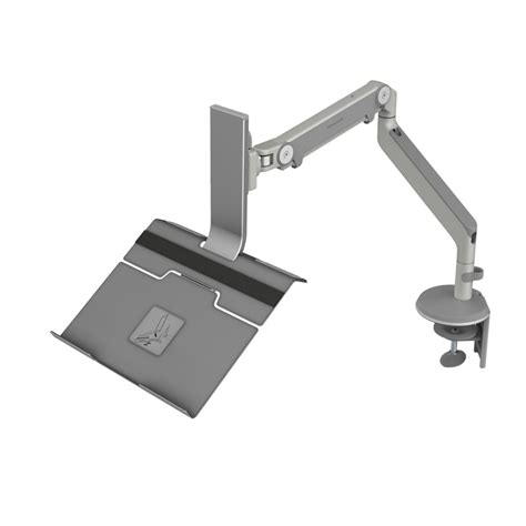 humanscale m2 monitor arm with notebook holder fully