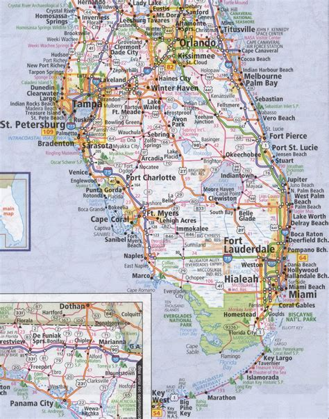 detailed map of florida south florida road map