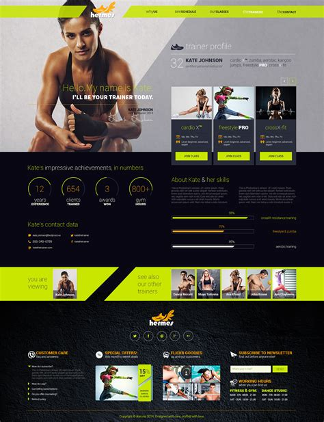 Hermes Fitness One Page Psd Template By Ikaruna Themeforest Fitness Website Design Templates