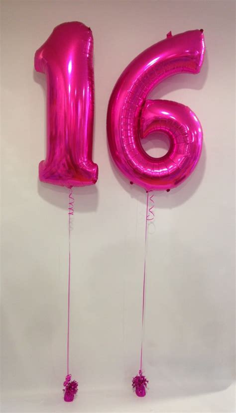 Large Pink 16 Number Balloons