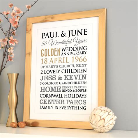 50th Wedding Anniversary Gifts Gold by Personalised Golden Wedding Anniversary By A Type Of