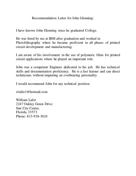 Recommendation Letter Johns Letter Of Recommendation Bill Lafer