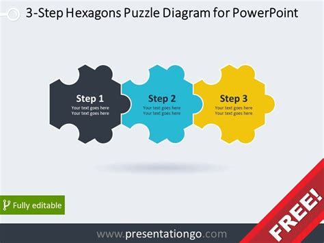 Free Diagram For Powerpoint With 3 Hexagonal Puzzle Pieces Powerpoint Template Puzzle Pieces Free