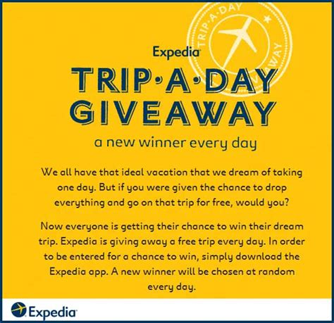 Trip A Day Giveaway - expedia app win a trip a day giveaway free flight sweeps maniac