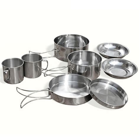 9 pcs outdoor cing backpacking cooking picnic pot pan plate cup set cookware ebay