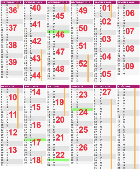 Calendrier Semaines 2013 Calendrier 2014 Semaines