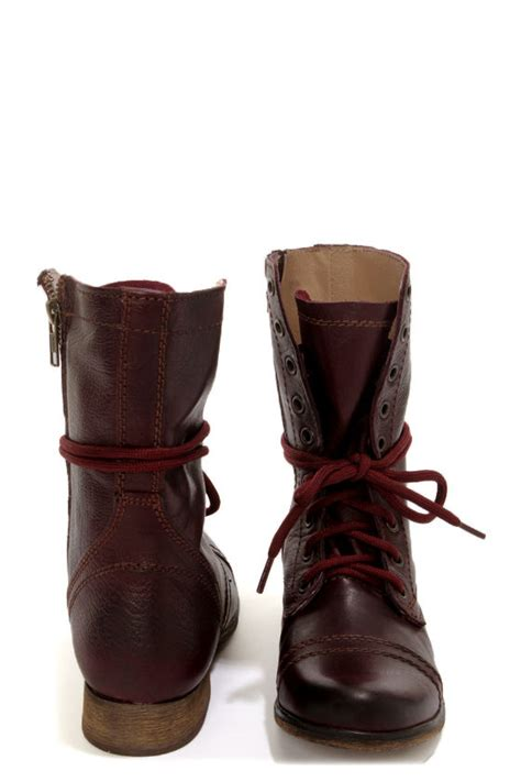 steve madden troopa wine leather lace up combat boots 99 00