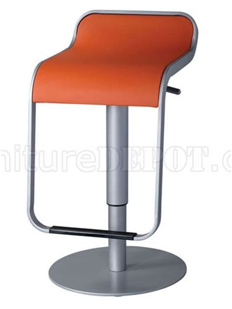 orange upholstery set of 2 modern bar stools w chromed base