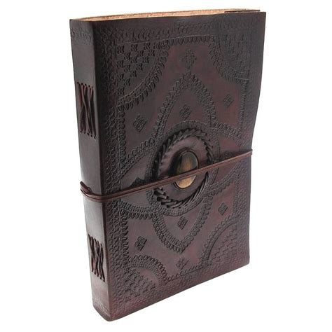 Handcrafted Leather Journals - handcrafted indra embossed hefty leather journal by