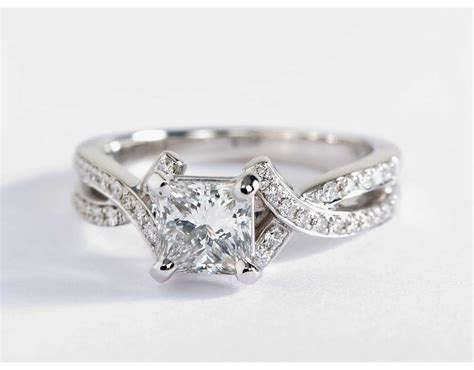 Intertwined Rings intertwined pav 233 engagement ring in 18k white gold
