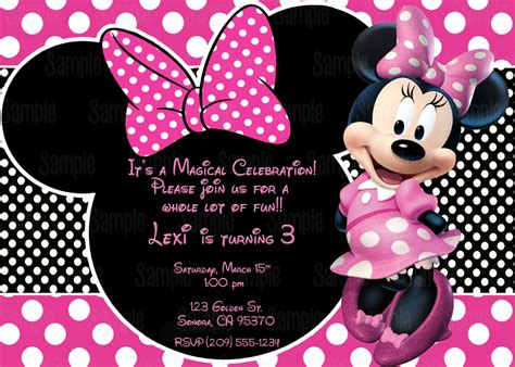 printable birthday cards minnie mouse printable minnie mouse invitation plus free blank matching