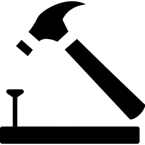 Nagel Und Hammer by Hammer Und Nagel Auf Holz Umriss Der