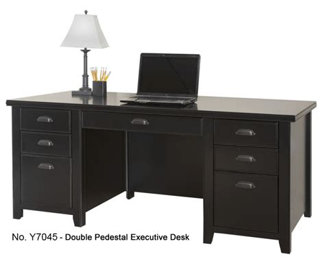 Black Executive Office Desk Tribeca Loft Black Office Furniture Series Pedestal Executive Desk