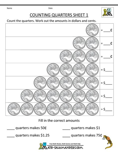 2nd grade money worksheets counting quarters 1 gif 1000