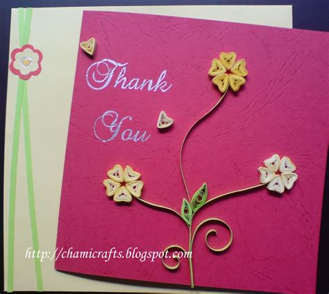 Handmade Greeting Cards - chami crafts handmade greeting cards quilled thank you card