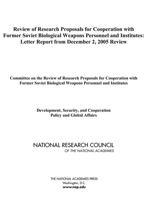 Research Cooperation Letter Review Of Research Proposals For Cooperation With Former Soviet Biological Weapons Personnel And