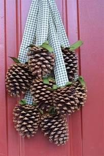 pine cones door decor winter