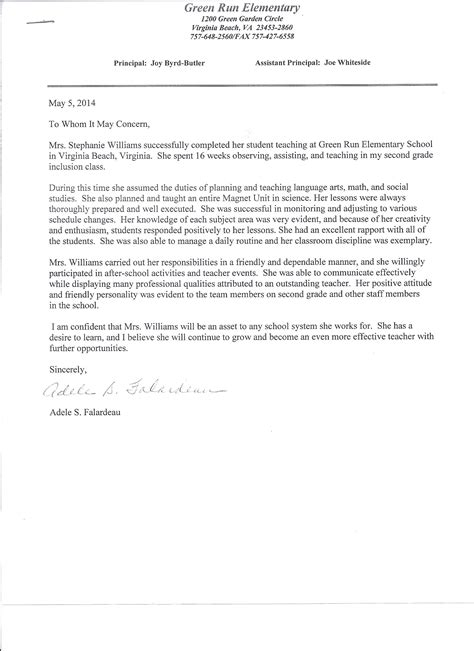 Recommendation Letter For Cooperating Student Teaching Williamsteaching Portfolio