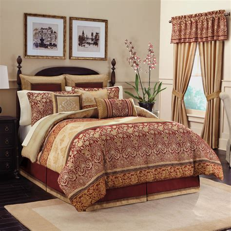 Exceptional French Country Magazine Online #2: Interior-golden-red-long-curtains-combined-with-cream-red-comforter-bedding-set-placed-on-the-black-bed-in-the-cream-wall-room-bedroom-comforter-and-curtain-sets.jpg