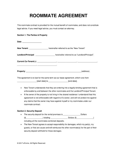 free roommate room rental agreement form pdf word