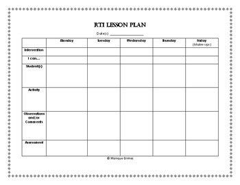 rti lesson plan template rti lesson plan template by grimes teachers pay