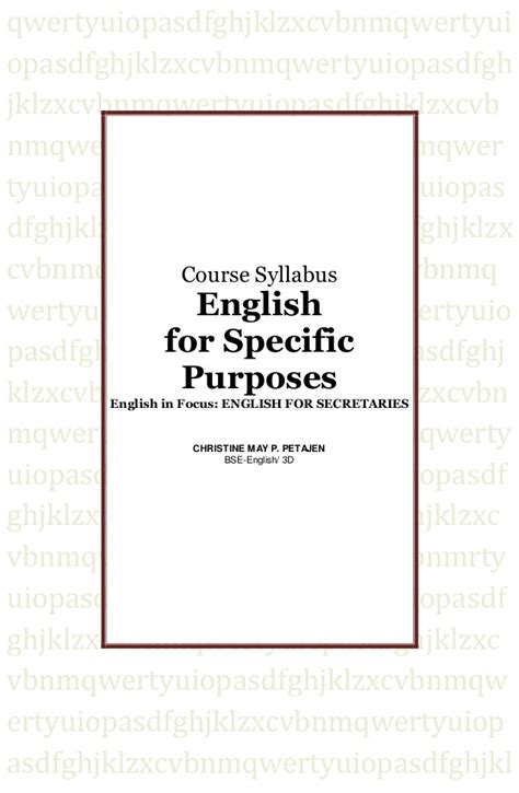 Eanglish For Special Purposes for specific purposes syllabus