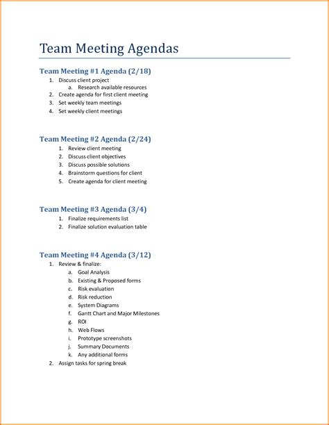 5 team meeting agenda template divorce document