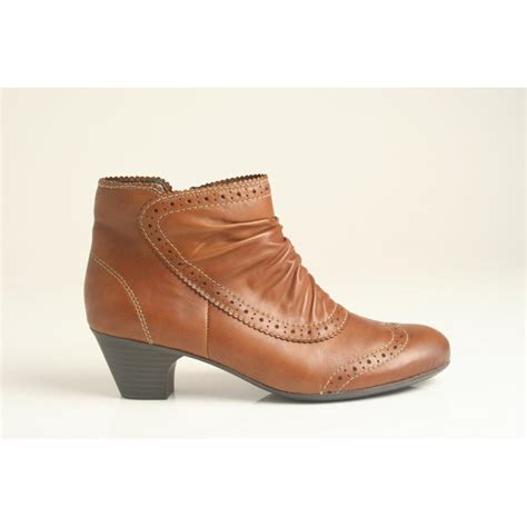 rieker ankle boot with zip and brogue detail in soft