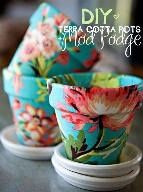 diy mod podge crafts diy terra cotta modge podge pots diy decor flower fabrics and plants