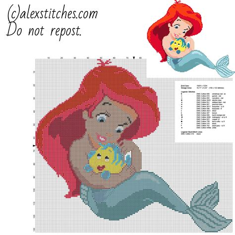 pattern in cross stitch disney baby princess ariel free cross stitch pattern