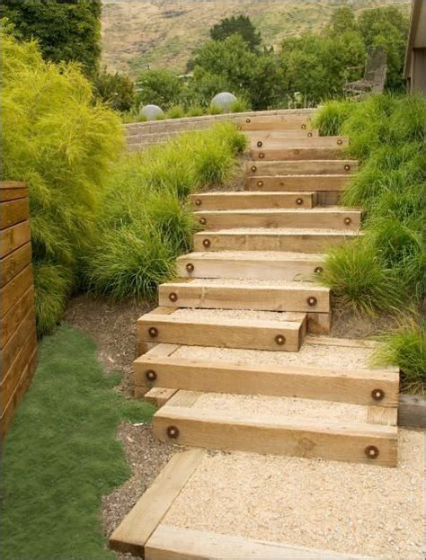 garden stairs garden steps wood gravel landscape by design
