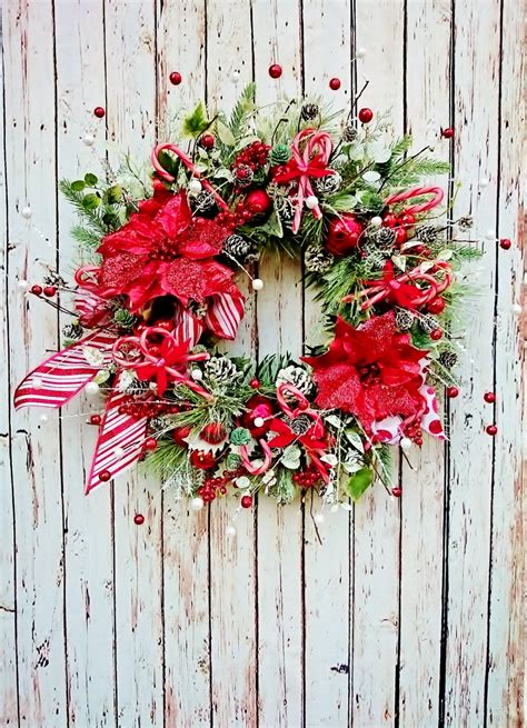 peppermint christmas front door wreath holiday wreaths red