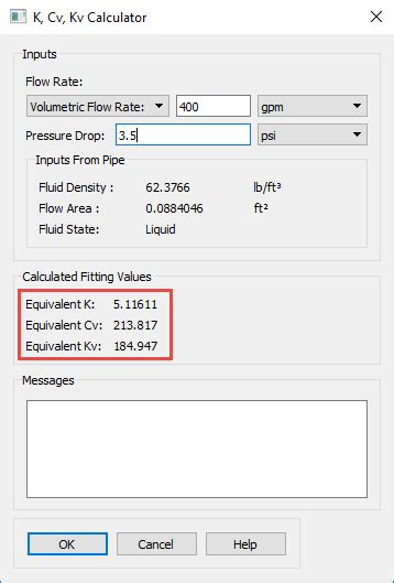using the k cv kv calculator engineered software