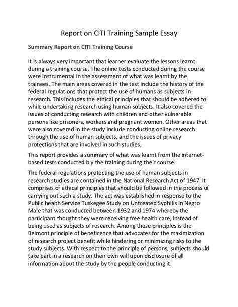 Report Essay by Report On Citi Sle Essay