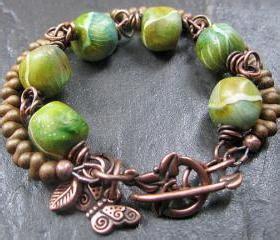 handmade copper bracelet beaded mossy rocks clay
