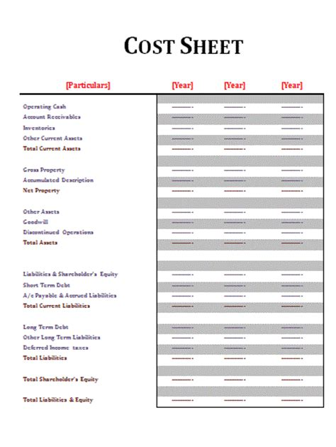 cost sheet template free sheet templates