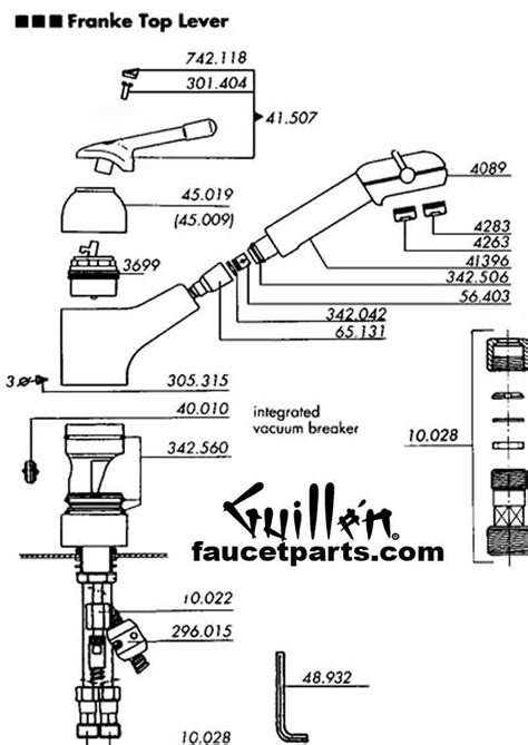 parts of a kitchen faucet diagram franke faucet parts
