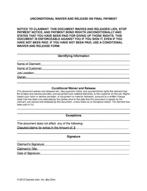 Waiver Template by Lien Waiver Template Gallery Template Design Ideas