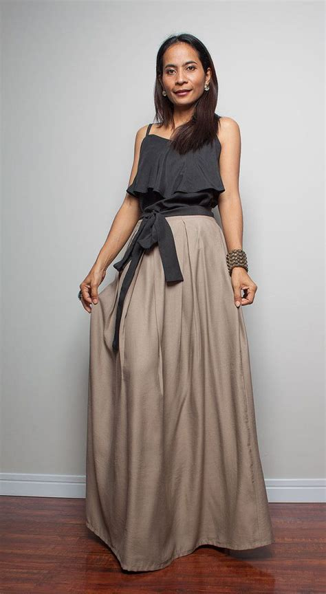 Floor Length Maxi Skirt cotton skirt floor length skirt light brown maxi